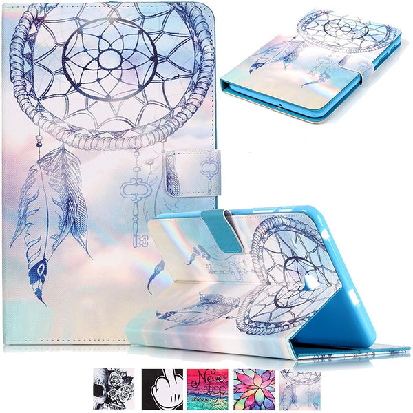 For Samsung Galaxy Tab E 8.0 SM-T377/SM-T375 Case, Wallet Standing Cover- Dreamcatcher