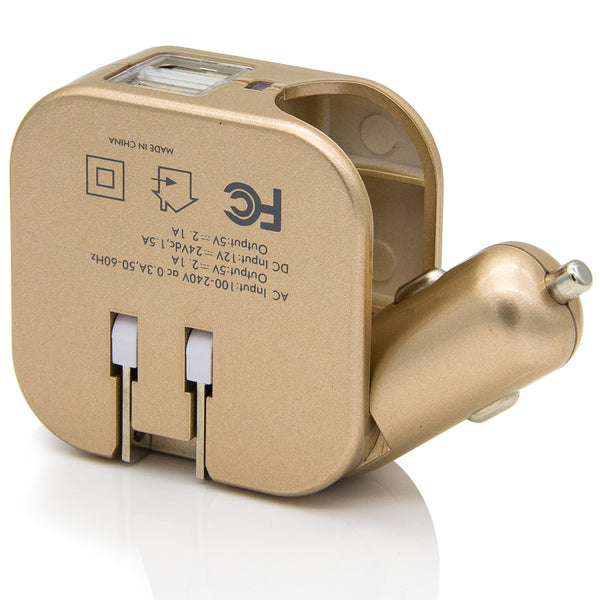 Dteck 2-in-1 Wall & Car Portable Charger Plug Dual USB Ports 2.1A for Cell Phone, Tablet & Kindle, Gold