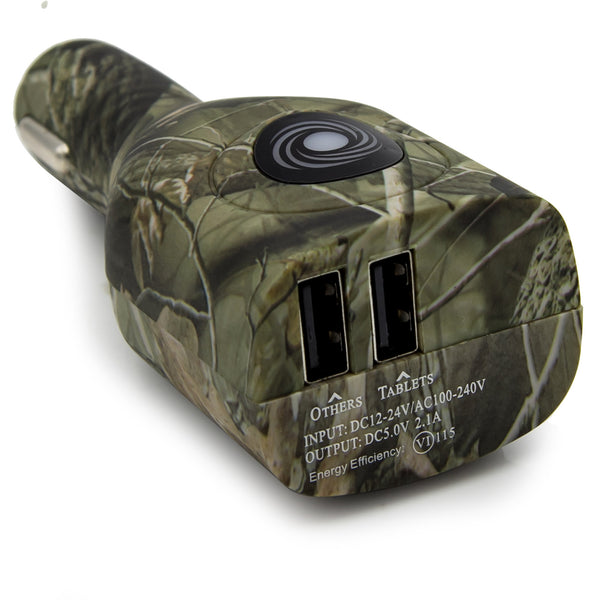 Dteck Portable Dual USB Ports Smart Home & Car Charger for iPhone LG HTC and More-Army Green