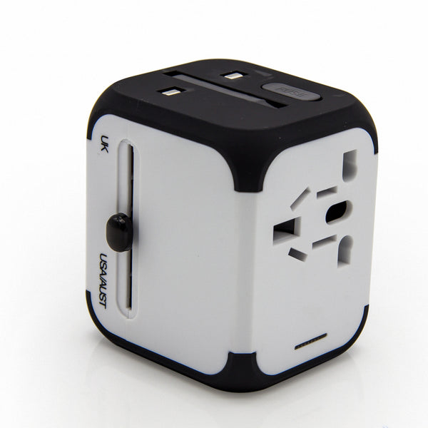 International Travel Charger, Dteck Safety Fused Multifunctional Charge Adapter Worldwide All-in-one Plug [US UK EU AU] with Dual Smart USB Ports and Multi-Socket