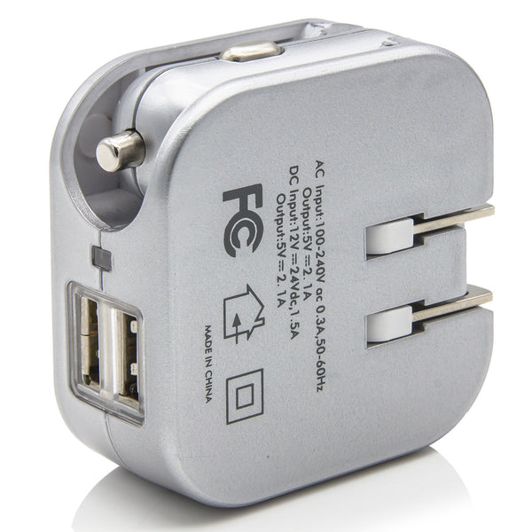 Dteck 2.1A 2-in-1 Dual Port USB Car Charger and Home Wall AC Chargers With Foldable Plug - Silver