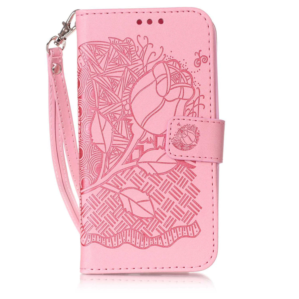 For LG Stylus 2 Case, LG G Stylo 2 Case, Dteck(TM) Slim Embossed Flower Flip Protective Stand Cover
