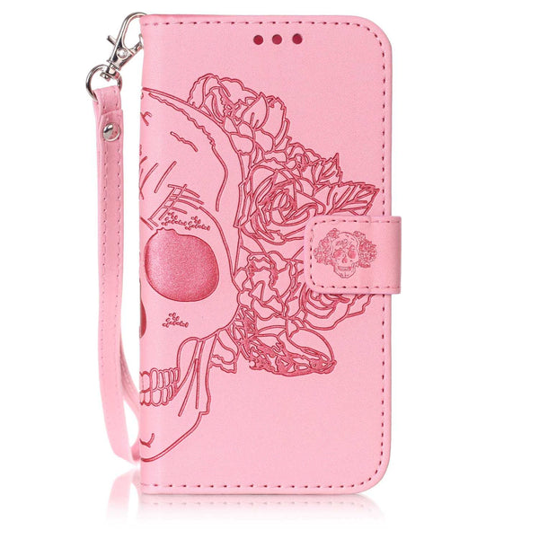 For LG Stylo 2 Case, Dteck(TM) Skull Head Premium Pu Leather [Wristlet] Flip Protective Stand Cover