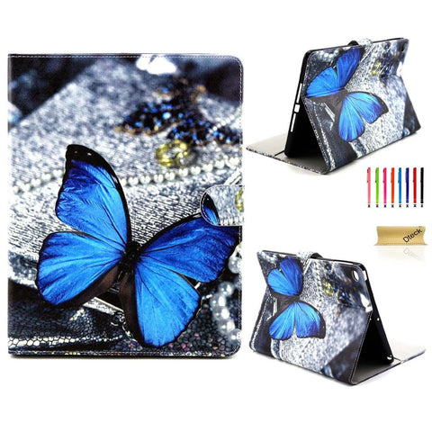 For iPad Air 2 Case, Dteck(TM) Synthetic Leather Stand Case Wallet Cover -Blue Butterfly