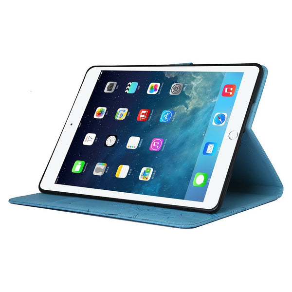 For iPad Air (iPad 5) Case, Vintage Synthetic Leather Folio Case with Kickstand-Blue