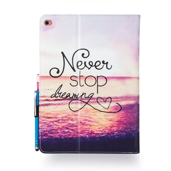 For iPad Air 2 Case, Dteck(TM) Cute Flip Card Slots Protective Wallet Cover-Never Stop