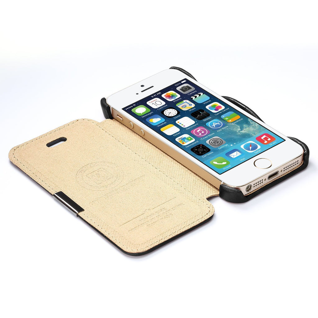 iPhone 5/ 5S/ SE Wallet Case, Dteck(TM) Genuine Real Leather Vintage Book Style Protective Cover