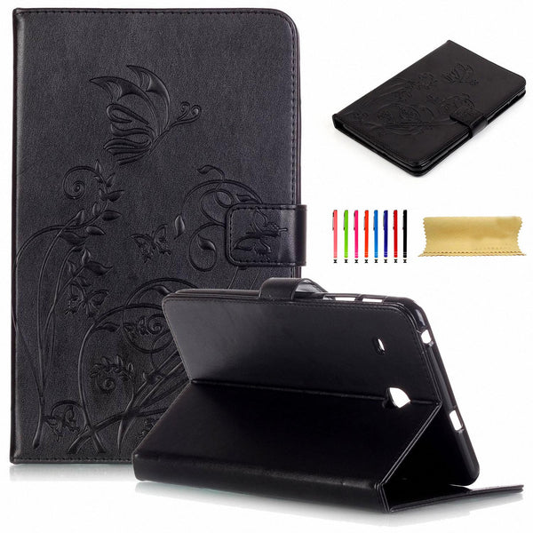 "For Samsung Galaxy Tab E 8.0"" T377/T375 Case, Embossed Synthetic Leather Wallet Cover"