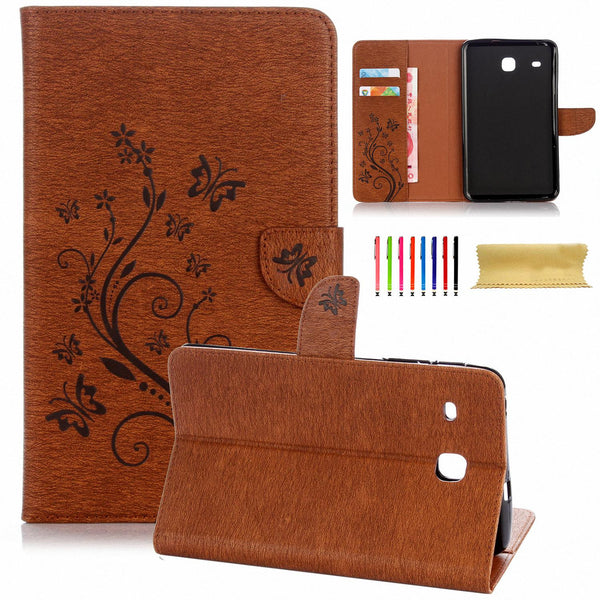 For Samsung Galaxy Tab E 8.0 SM-T377 Case, Embossed Synthetic Leather Stand Cover