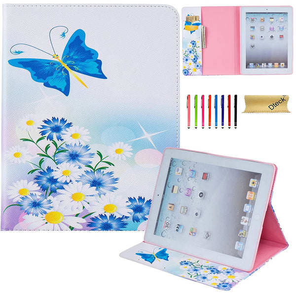 For iPad 2 3 4 Case,  Patterned Flip PU Leather Protective Wallet Cover