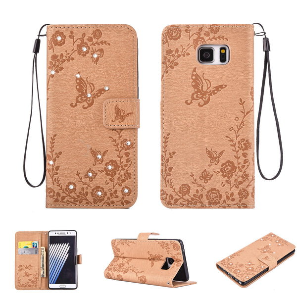 Dteck Embossed Pattern with Bling Diamond Wallet Case for Samsung Galaxy S7 Edge
