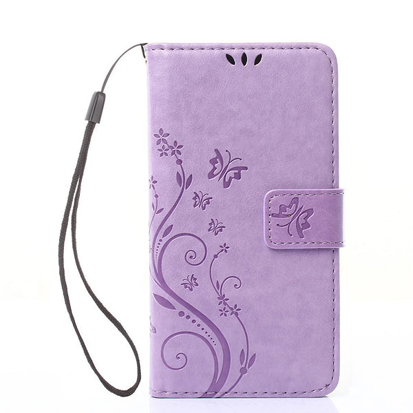Dteck PU Leather Embossed Butterfly Pattern Case Cover with Wrist Strap for LG LTE K4 Spree Zone 3