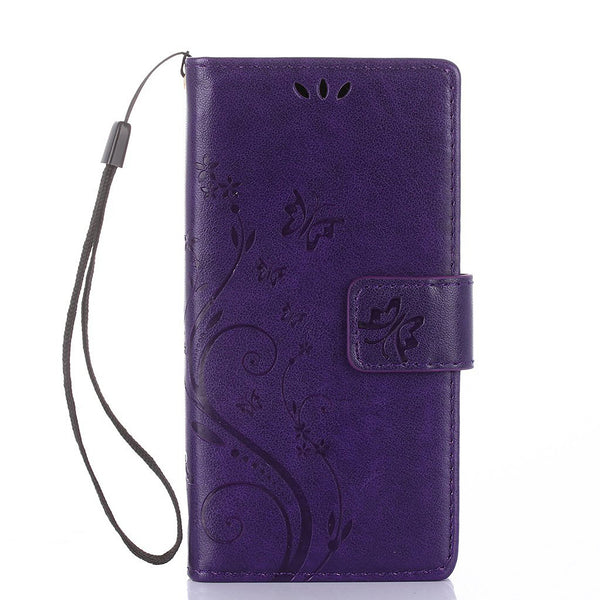 LG LS770 Wallet Case, Dteck PU Leather Butterfly Embossed Hand Strap Case Cover for LG LSS770