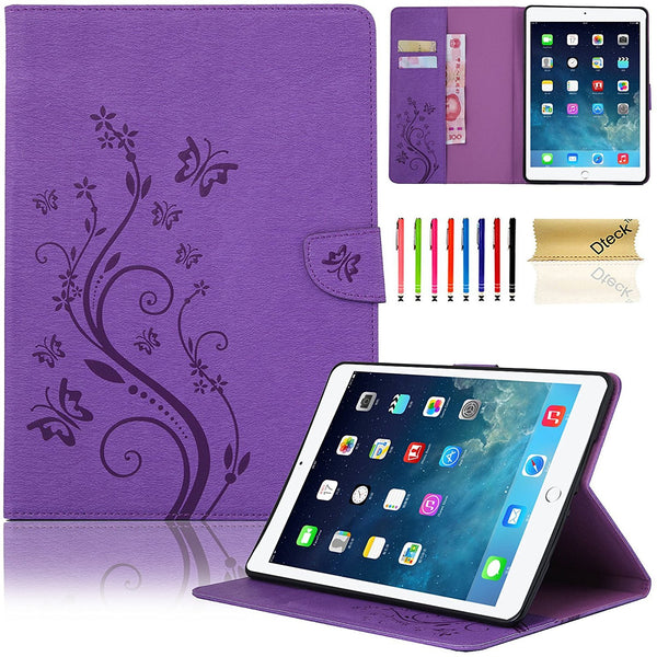 For iPad Air (iPad 5) Case, Vintage Synthetic Leather Folio Case with Kickstand-Purple