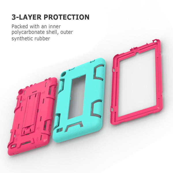 "For Fire 7"" 5th Gen 2015 Case, 3-in-1 Hybrid Protective Rubber Defender Cover"