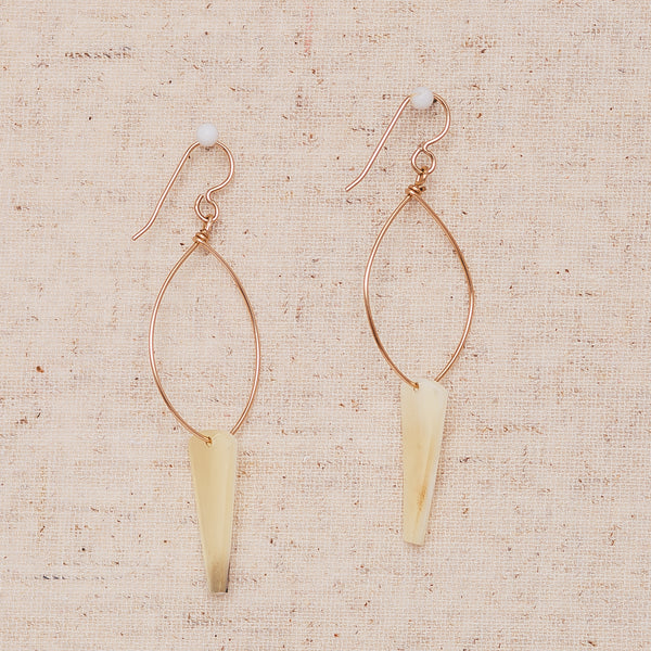 Triangle White Cow Horn - Gold