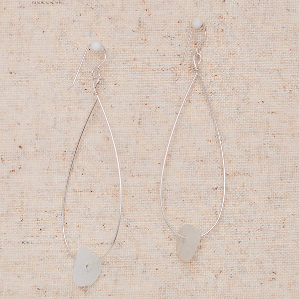 Large Seaglass - Silver & White