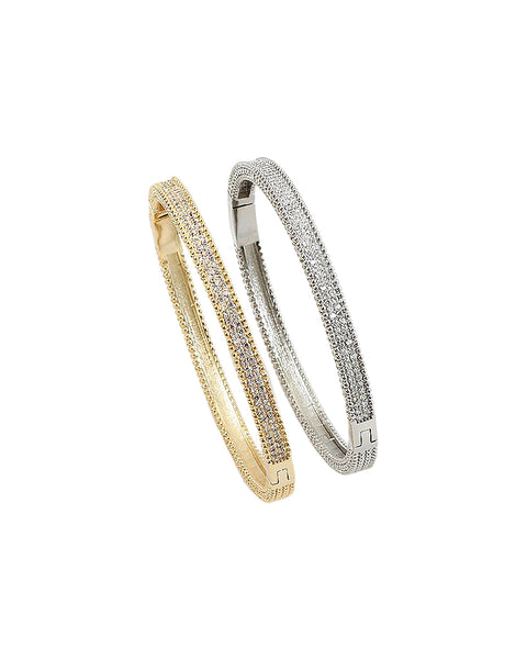 BITZ CRUSHED CZ BANGLE BRACELET - GOLD/SILVER