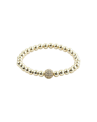 BITZ GOLD BALL N CZ STACKING BRACELET - CIRCLE