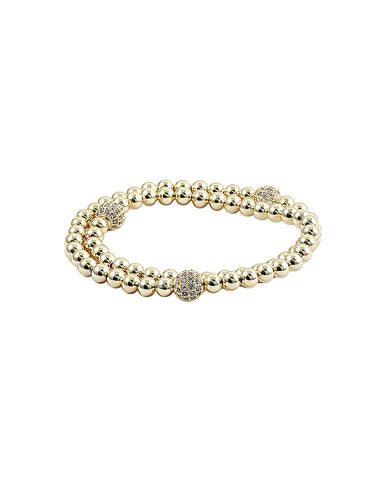 BITZ GOLD BALL N CZ STACKING BRACELET - THREE CIRCLES