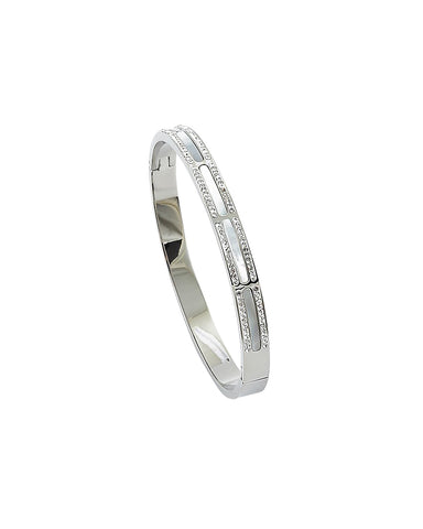 BITZ RECTANGLE MOTHER OF PEARL N CZ BANGLE BRACELET