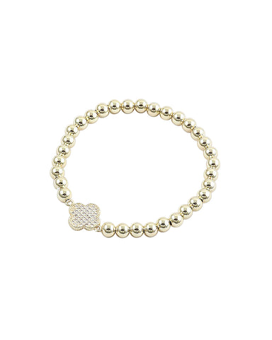 BITZ GOLD BALL N CZ STACKING BRACELET - CLOVER