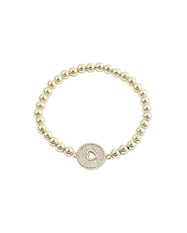 BITZ GOLD BALL N CZ STACKING BRACELET - LOCK HEART