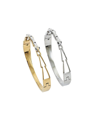 BITZ SNAKE CZ BRACELET BANGLE - GOLD/SILVER
