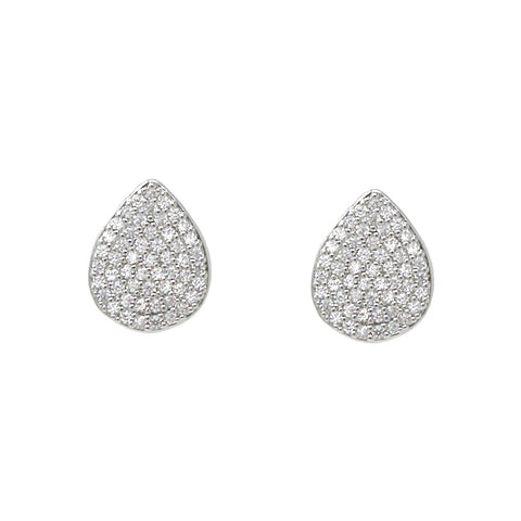 BITZ PREMIUM CUBIC ZIRCONIA PAVE TEARDROP STUD EARRINGS