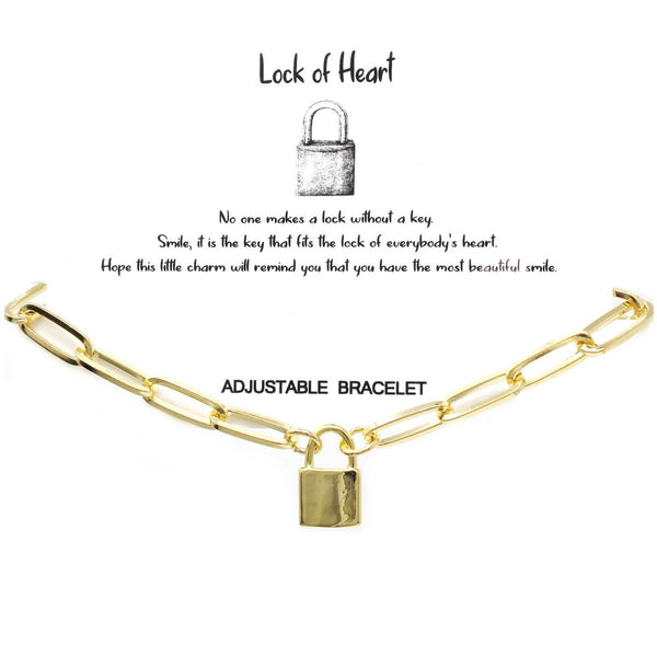 BITZ STORY LOCK OF HEART Sliding Knot Bracelet TWO COLOR OPTIONS - GOLD OR SILVER