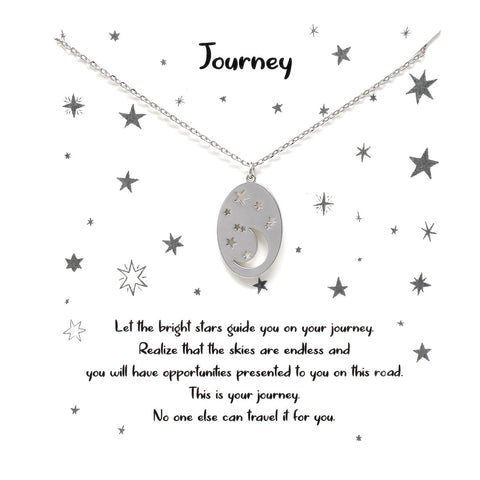 BITZ STORY: JOURNEY MOON & STAR CUTOUT OVAL PENDANT SIMPLE CHAIN NECKLACE