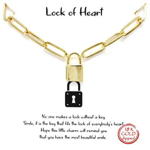 BITZ STORY: LOCK OF HEART PENDANT SIMPLE CHAIN NECKLACE