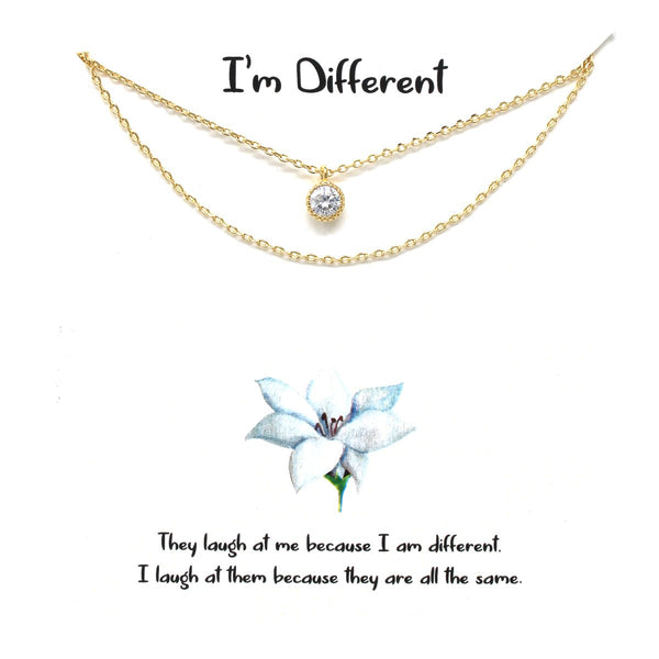 BITZ STORY: I'M DIFFERENT CZ PENDANT DOUBLE CHAIN NECKLACE - 2 COLOR OPTIONS GOLD OR SILVER