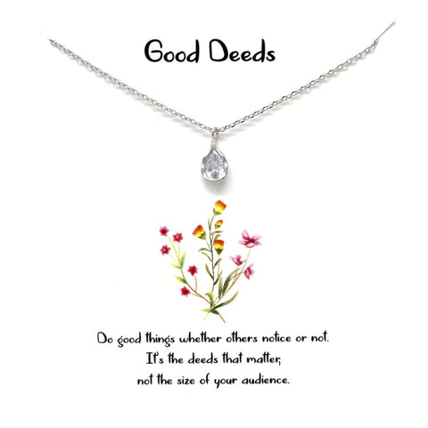 BITZ STORY: GOOD DEEDS TEARDROP CZ PENDANT SIMPLE CHAIN NECKLACE