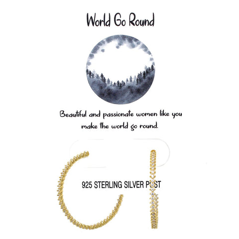 BITZ TELL YOUR STORY: WORLD GO ROUND PAVE CZ HOOP EARRINGS GOLD