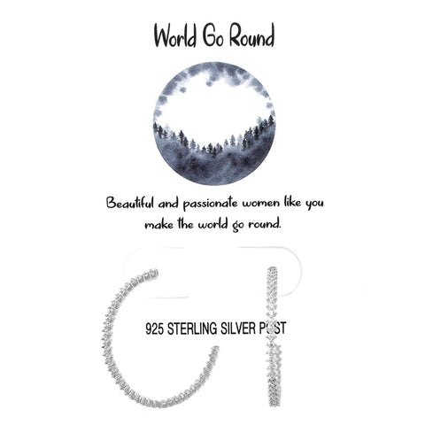 BITZ TELL YOUR STORY: WORLD GO ROUND PAVE CZ HOOP EARRINGS SILVER