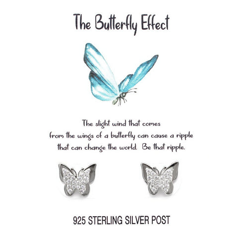 BITZ STORY: THE BUTTERFLY EFFECT CZ PAVE BUTTERFLY STUD EARRINGS