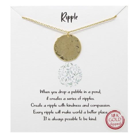 BITZ STORY: RIPPLE METAL DISC PENDANT SIMPLE CHAIN NECKLACE