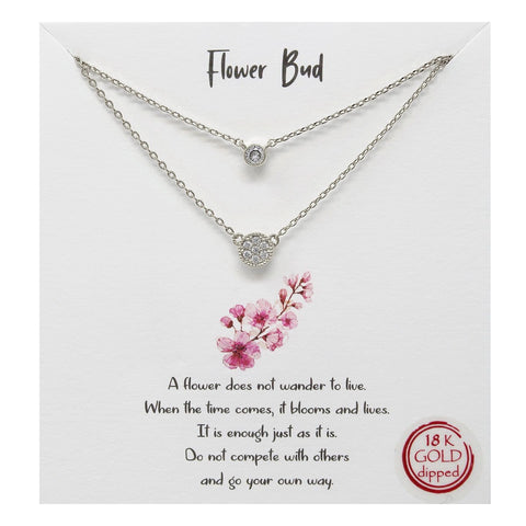BITZ STORY: FLOWER BUD CZ PENDANT LAYERED CHAIN NECKLACE