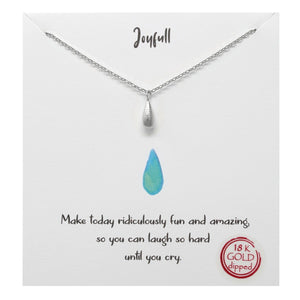 BITZ STORY: JOYFUL TEARDROP PENDANT SIMPLE CHAIN NECKLACE - TWO COLOR OPTIONS