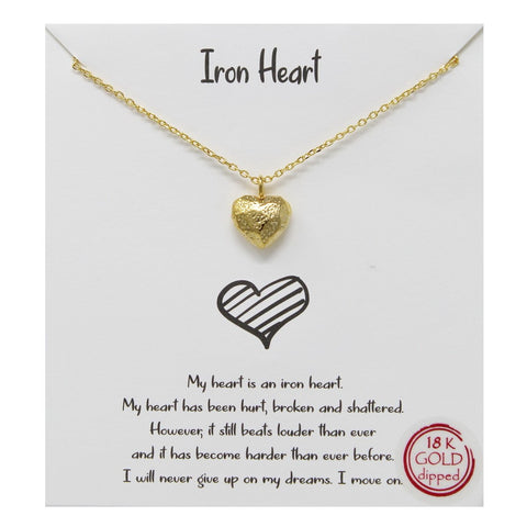 BITZ STORY: IRON HEART PENDANT SIMPLE CHAIN NECKLACE