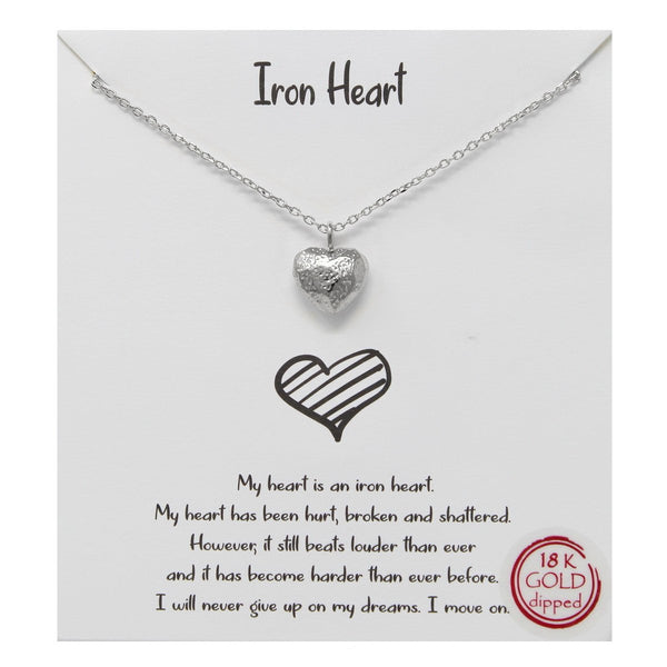 BITZ STORY: IRON HEART PENDANT SIMPLE CHAIN NECKLACE - TWO COLOR OPTIONS