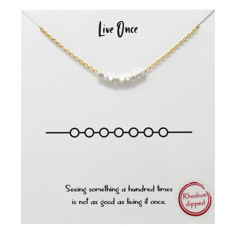 BITZ STORY: LIVE ONCE PENDANT SIMPLE CHAIN NECKLACE