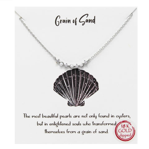 BITZ TELL YOUR STORY: GRAIN OF SAND PENDANT SIMPLE CHAIN NECKLACE SILVER