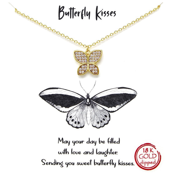 BITZ STORY: BUTTERFLY KISSES SIMPLE CHAIN NECKLACE TWO COLOR OPTIONS - GOLD OR SILVER