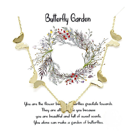 BITZ STORY: BUTTERFLY GARDEN BUTTERFLY FLOATING  NECKLACE - GOLD OR SILVER