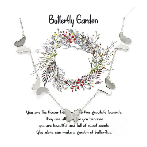 BITZ STORY: BUTTERFLY GARDEN BUTTERFLY FLOATING PENDANT SIMPLE CHAIN NECKLACE