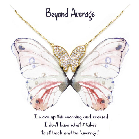 BITZ Story: BEYOND AVERAGE CZ Pave Butterfly Pendant Simple Chain Short Necklace TWO COLOR OPTIONS - GOLD OR SILVER