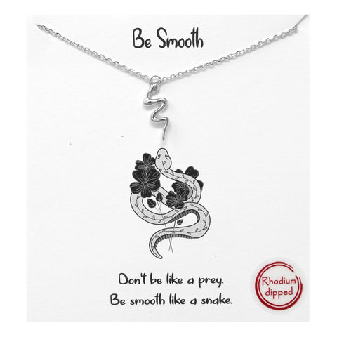 BITZ STORY: BE SMOOTH SNAKE PENDANT SIMPLE CHAIN SHORT NECKLACE - TWO COLOR OPTIONS