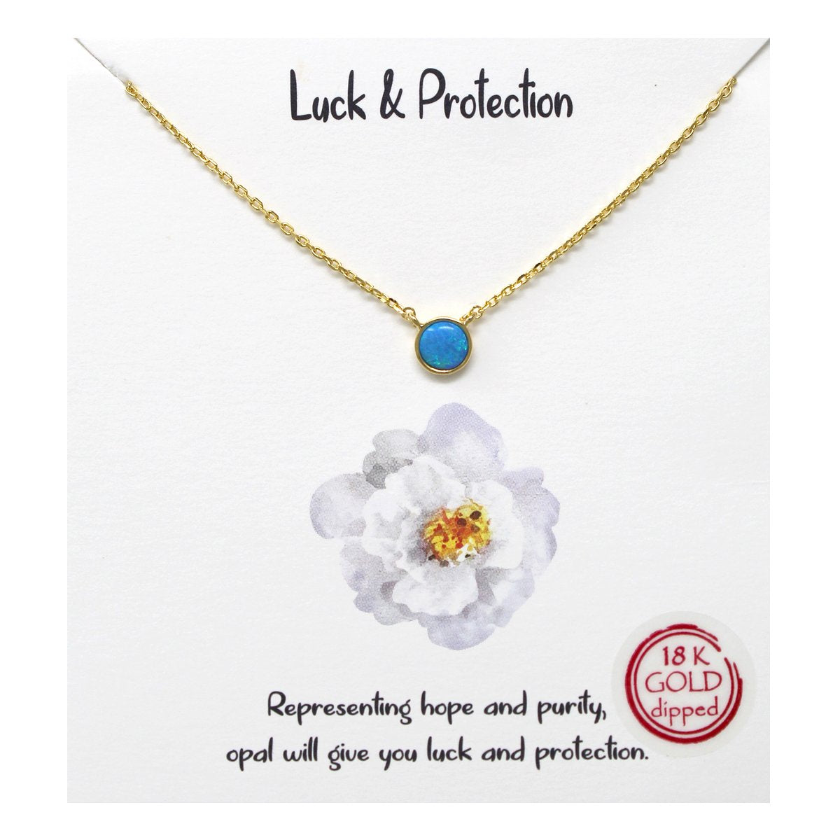 BITZ STORY: LUCK & PROTECTION OPAL PENDANT SIMPLE CHAIN SHORT NECKLACE